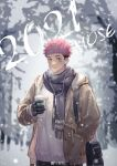 1boy 2021 alternate_costume beige_jacket black_hair black_scarf breath brown_eyes cup disposable_cup facial_mark happy_new_year highres hood hooded_jacket itadori_yuuji jacket jujutsu_kaisen looking_at_viewer male_focus mo_si_(z1216150815) new_year pink_hair scarf short_hair snowing solo spiky_hair sweater undercut upper_body white_sweater winter_clothes