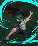1girl antennae aura black_cape black_footwear black_neckwear blue_shorts cape floating_cape green_background green_hair hand_up inishie_kumo looking_at_viewer neckerchief one_knee shirt shoes short_hair short_sleeves shorts smile socks solo touhou two-sided_cape two-sided_fabric white_shirt wriggle_nightbug