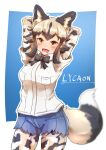 1girl african_wild_dog_(kemono_friends) african_wild_dog_print animal_ear_fluff animal_ears animal_print arms_behind_head arms_up bangs black_hair bodystocking bow bowtie breast_pocket character_name collared_shirt cutoffs denim denim_shorts denka_(denka_ilst) dog_ears dog_girl dog_tail eyebrows_visible_through_hair fang flipped_hair highres kemono_friends long_sleeves looking_at_viewer medium_hair multicolored_hair open_mouth pocket shirt short_over_long_sleeves short_sleeves shorts silver_hair smile solo tail two-tone_hair wing_collar yellow_eyes