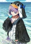 1girl animal_hood armored_boots bangs beach bikini bikini_top black_jacket blue_bow boots bow breasts choker closed_mouth collarbone deishuu eyebrows_visible_through_hair fate/grand_order fate_(series) food from_side hair_strand hand_up hood ice_cream jacket licking long_hair long_sleeves looking_at_viewer looking_to_the_side meltryllis meltryllis_(swimsuit_lancer)_(fate) purple_hair sleeves_past_fingers sleeves_past_wrists small_breasts smile solo standing swimsuit thighs tongue tongue_out very_long_hair violet_eyes wide_sleeves