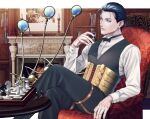 1boy bangs blue_eyes blue_hair bow bowtie chess_piece chessboard collared_shirt corset crossed_legs fate/grand_order fate_(series) fireplace hair_slicked_back holding looking_at_viewer magnifying_glass sherlock_holmes_(fate/grand_order) shirt sitting vest
