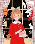 1girl absurdres bangs bear black_eyes blush brown_hair cake candle curtains dress food fork gingerbread_man grey_ribbon ground_vehicle hair_ribbon highres holding holding_food holding_fork holding_plate long_sleeves original parted_lips plate rabbit red_dress ribbon short_hair solo train window yoovora