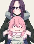 2girls absurdres bangs_pinned_back blue_eyes cheek_pinching cheek_pull closed_eyes eyebrows_visible_through_hair fur_trim glasses hanya_(hanya_yashiki) highres holding jacket kagamihara_nadeshiko kagamihara_sakura long_hair multiple_girls pinching pink_hair purple_hair scarf siblings simple_background sisters upper_body yurucamp