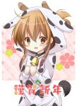 1girl 2021 animal_costume animal_ears animal_print bell brown_eyes brown_hair commentary_request cow_costume cow_ears cow_horns cow_print cow_tail cowbell floral_background folded_ponytail hands_on_own_chest horns inazuma_(kantai_collection) kantai_collection long_hair new_year solo tail yuuki_mia