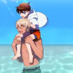2boys :d ^_^ amuro_tooru bangs bare_pecs barefoot blonde_hair blue_eyes blue_sky brown_hair carrying child closed_eyes collarbone commentary_request day edogawa_conan from_side hair_between_eyes hands_on_another's_head happy hood hood_down hoodie kanamura_ren looking_at_another looking_down male_focus meitantei_conan multiple_boys navel no_eyewear no_nipples ocean open_clothes open_hoodie open_mouth outdoors partially_submerged pectorals piggyback shadow short_hair sky smile sunlight sweatdrop toned toned_male upper_teeth white_hoodie wind