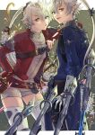 :/ alisaie_leveilleur alphinaud_leveilleur arm_on_shoulder brother_and_sister chikuihaku final_fantasy final_fantasy_xiv fingerless_gloves floating floating_object floating_weapon gloves hair_ribbon jacket looking_at_viewer open_mouth pointy_ears ponytail pout red_jacket red_mage ribbon sage_(final_fantasy) short_shorts shorts siblings silver_hair thigh-highs twins