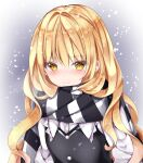 1girl blonde_hair blush commentary_request eyebrows_visible_through_hair gradient gradient_background kirisame_marisa looking_at_viewer nanase_nao scarf simple_background smile snow touhou yellow_eyes