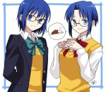 1girl arms_behind_back bangs black-framed_eyewear blue_eyes blue_hair blue_jacket blush bow bowtie breasts buttons ciel_(tsukihime) closed_mouth collared_shirt commentary_request curry eyebrows_visible_through_hair fingers_together food glasses green_bow hair_between_eyes heart jacket long_sleeves looking_at_viewer open_clothes open_jacket own_hands_together parted_bangs pocket red_bow school_uniform shirt short_hair signature simple_background smile tsukihime tsukihime_(remake) uniform vanilla1034 vest white_background white_shirt yellow_vest