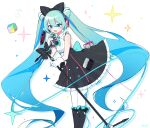 1girl aqua_eyes aqua_hair argyle_print bare_shoulders black_bow black_footwear black_skirt boots bow cable commentary cowboy_shot cube eighth_note frilled_skirt frills gloves hair_bow hatsune_miku headphones highres holding holding_microphone holding_microphone_stand hoop_skirt knee_boots leaning_forward long_hair magical_mirai_(vocaloid) makuhari-chan microphone microphone_stand monitaros_393 musical_note open_mouth shirt skirt sleeveless sleeveless_shirt smile solo sparkle twintails very_long_hair vocaloid white_background white_gloves white_legwear white_shirt