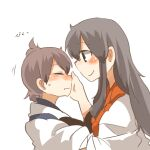 2girls akagi_(kantai_collection) black_eyes black_hair blush brown_hair closed_eyes commentary_request hands_on_another's_face kaga_(kantai_collection) kantai_collection long_hair lowres multiple_girls rebecca_(keinelove) short_hair side_ponytail smile sweat