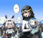2girls absurdres animal_costume animal_hood bird bird_costume blonde_hair blush breasts candy candy_bar chocolate chocolate_bar coat crossover day empress_(last_origin) food gen_4_pokemon glacier grey_hair hair_between_eyes hairband highres hood last_origin multicolored_hair multiple_girls oppai_loli outdoors penguin penguin_costume penguin_hood piplup pokemon runny_nose starter_pokemon streaked_hair sukai t-13_alvis tearing_up twintails two_side_up water white_hair