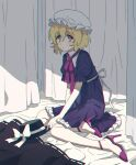 1girl blonde_hair dress hat high_heels looking_at_viewer maribel_hearn purple_dress purple_footwear re_ghotion short_hair touhou