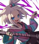 1girl bass_guitar blue_eyes blush collarbone commentary_request dress grey_hair gym_leader hair_bobbles hair_ornament hands_up holding holding_instrument holding_plectrum instrument medium_hair open_mouth pokemon pokemon_(game) pokemon_bw2 roxie_(pokemon) smile solo striped striped_dress teeth tongue topknot tpi_ri two-tone_dress upper_body