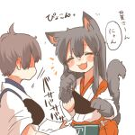 2girls akagi_(kantai_collection) animal_ears black_hair blush brown_hair cat_ears cat_tail closed_eyes commentary_request kaga_(kantai_collection) kantai_collection long_hair lowres multiple_girls muneate open_mouth rebecca_(keinelove) short_hair side_ponytail smile tail translation_request