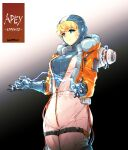 1girl absurdres apex_legends bangs black_background blonde_hair blue_bodysuit blue_eyes blue_gloves bodysuit burn_scar character_name closed_mouth commentary copyright_name cowboy_shot cropped_jacket electricity eyebrows_visible_through_hair gloves gradient gradient_background highres hood hood_down ishiyumi jacket long_sleeves looking_at_viewer open_clothes open_jacket orange_jacket partially_unzipped scar scar_on_cheek scar_on_face short_hair smile solo standing thigh_strap wattson_(apex_legends) white_jumpsuit zipper