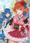 2girls absurdres ahoge bangs behind_back black_gloves blue_eyes blue_hair blurry blurry_background blush bow breasts choker dress eyebrows_visible_through_hair flower food frilled_skirt frills gloves green_bow hair_flower hair_ornament highres holding holding_food japanese_clothes kimono long_hair long_sleeves looking_at_another multiple_girls one_eye_closed open_mouth orange_hair pointing red_bow red_choker red_eyes red_flower red_ribbon rei_(kinokotype) ribbon setsuna_(shironeko_project) shironeko_project short_hair skirt small_breasts towa_(shironeko_project) upper_teeth white_flower wide_sleeves