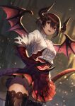 absurdres brown_hair brown_legwear castle claws dragon_girl dragon_horns dragon_tail dragon_wings embers frills grea_(shingeki_no_bahamut) hair_between_eyes highres horns konoike_(pepe_expect) open_mouth outdoors pointy_ears red_eyes red_skirt shingeki_no_bahamut short_hair skirt tail thigh-highs torn torn_clothes wings