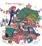 1girl 2020 2boys barry_(pokemon) beanie blush boots box brown_footwear chimchar christmas christmas_tree chueog coat commentary dawn_(pokemon) gen_1_pokemon gen_3_pokemon gen_4_pokemon green_scarf hat hatted_pokemon highres holding jacket lucas_(pokemon) merry_christmas multiple_boys pants pikachu pink_footwear piplup poke_ball_print pokemon pokemon_(creature) pokemon_(game) pokemon_dppt pokemon_platinum red_headwear scarf shoes smile socks sparkle standing swablu torterra turtwig white_headwear white_legwear white_scarf wreath