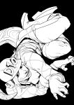 1boy absurdres black_background diego_brando greyscale highres jojo_no_kimyou_na_bouken long_sleeves looking_at_viewer male_focus monochrome pants scary_monsters_(stand) sharp_teeth shirt simple_background solo sparrowl spoilers steel_ball_run tail teeth upside-down