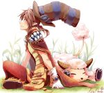 1boy :3 amistr_(ragnarok_online) armor bangs blush breastplate brown_cape brown_hair brown_headwear brown_pants cape closed_mouth commentary_request creator_(ragnarok_online) full_body fur-trimmed_pants gloves grass hat hat_belt kiri_nada living_clothes looking_to_the_side medium_hair pants pointy_ears ponytail pouch ragnarok_online red_eyes sheep shoes short_ponytail signature sitting smile teeth top_hat white_background white_gloves