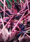 1boy bangs belt black_hair blonde_hair card claws commentary_request duel_disk duel_monster energy energy_beam from_below gandora-x_the_dragon_of_demolition glowing glowing_eyes hair_between_eyes holding holding_card jacket koma_yoichi male_focus multicolored_hair mutou_yuugi open_mouth pants purple_hair rock school_uniform sharp_teeth shirt spiky_hair teeth tongue yu-gi-oh! yu-gi-oh!_the_dark_side_of_dimensions
