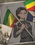 1girl belt black_hair dark_skin dark_skinned_female epaulettes ethiopia flag green_eyes highres holding holding_flag horse kaiserreich military military_uniform photo_(object) pzkpfwi uniform very_dark_skin