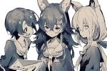 3girls alternate_costume animal_ear_fluff animal_ears asymmetrical_hair braid breasts closed_mouth commentary ear_piercing empty_eyes expressionless fox_ears glasses greyscale hair_between_eyes hair_ornament hair_ribbon hands_on_own_chest hololive long_hair looking_at_another looking_at_viewer love_letter monochrome multicolored_hair multiple_girls ookami_mio oozora_subaru open_mouth piercing ponytail pov ribbon sailor_collar school_uniform serafuku shirakami_fubuki short_hair side_braid simple_background single_braid sleeves_past_wrists small_breasts smile staring streaked_hair tamo_(gaikogaigaiko) translated two-tone_hair upper_body virtual_youtuber white_background wolf_ears