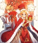 2girls antlers bangs bitikara blonde_hair blue_eyes box cape christmas christmas_ornaments cowboy_shot dress fur_trim gift gift_box hands_up long_hair multiple_girls parted_bangs pointy_ears princess_zelda red_cape red_headwear red_tabard sheik small_stellated_dodecahedron super_smash_bros. white_dress
