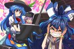 3girls apron bangle bass_clef black_headwear blouse blue_hair blue_skirt bow bowl bowl_hat bowtie bracelet center_frills closed_eyes covering_ears debt dress_shirt eighth_note food frills fruit grand_piano hair_bow hat hinanawi_tenshi hood hoodie instrument japanese_clothes jewelry kimono long_hair multiple_girls musical_note peach piano puffy_short_sleeves puffy_sleeves purple_hair quarter_note quarter_rest red_bow red_eyes shirt shope short_hair short_sleeves skirt sukuna_shinmyoumaru touhou treble_clef waist_apron white_blouse wing_collar yorigami_shion
