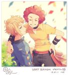 2boys afro arm_around_shoulder black_choker blonde_hair blue_jacket choker closed_eyes closed_mouth collared_shirt commentary_request confetti dated elite_four flint_(pokemon) grey_eyes gym_leader happy_birthday jacket komasawa_(fmn-ppp) light_blush male_focus multiple_boys pants pokemon pokemon_(game) pokemon_dppt redhead shirt short_sleeves smile translation_request volkner_(pokemon) yellow_shirt