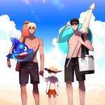 3boys akai_shuuichi amuro_tooru bangs bare_pecs black_hair black_shorts blonde_hair blue_eyes blue_sky brown_hair child closed_mouth closed_umbrella clouds collarbone commentary_request cooler day edogawa_conan glasses green_eyes hair_between_eyes holding holding_hands holding_innertube holding_umbrella inflatable_shark inflatable_toy innertube kanamura_ren looking_at_viewer male_focus male_swimwear meitantei_conan multiple_boys no_nipples outdoors parasol pectorals red_shorts short_hair shorts sky standing sunglasses sunlight swim_trunks swimwear toned toned_male umbrella