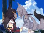 2girls animal_ear_fluff animal_ears aoman_de_cangshu bangs bare_shoulders blush braid breasts closed_eyes clouds detached_sleeves eyebrows_visible_through_hair facing_another fox_ears fox_girl fox_tail hair_between_eyes hair_ornament highres holding holding_hands hololive long_hair multiple_girls ookami_mio parted_lips pentagram ponytail profile shirakami_fubuki sky small_breasts tail tail_raised virtual_youtuber white_hair