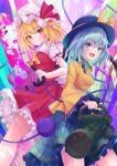 2girls black_headwear blonde_hair chainsaw closed_eyes dress flandre_scarlet floral_print gatling_gun green_hair green_skirt hat komeiji_koishi m134_minigun mob_cap multiple_girls ramie_(ramie541) red_dress rose_print shirt skirt touhou yellow_shirt