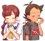 1boy 1girl antenna_hair backpack bag bangs blush braid brown_hair chitozen_(pri_zen) chloe_(pokemon) closed_eyes closed_mouth collared_dress eyelashes flower goh_(pokemon) hair_flower hair_ornament hashtag holding holding_poke_ball number pink_flower poke_ball poke_ball_(basic) pokemon pokemon_(anime) pokemon_swsh_(anime) short_sleeves smile