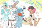 2boys 2girls alternate_costume bikini blonde_hair blue_hair blush dark_skin dark_skinned_female flower food fruit gen_1_pokemon gen_7_pokemon glacia_(pokemon) hair_flower hair_ornament hat heart multiple_boys multiple_girls nibo_(att_130) open_mouth phoebe_(pokemon) pokemon pokemon_(game) pokemon_masters_ex pokemon_oras sandslash sandygast smile steven_stone sunglasses swimsuit wallace_(pokemon) watermelon