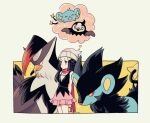 1girl arms_behind_back bag bare_arms beanie black_hair closed_mouth commentary_request dawn_(pokemon) gen_4_pokemon grey_headwear hair_ornament hairclip hat highres holding holding_bag komasawa_(fmn-ppp) long_hair long_scarf luxray pokemon pokemon_(creature) pokemon_(game) pokemon_dppt scarf shinx sparkle staraptor starly sweatdrop thought_bubble v-shaped_eyebrows