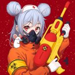 1girl animal animal_on_shoulder armband bangs chinese_zodiac commentary_request double_bun english_text eyebrows_visible_through_hair gas_mask gloves gun hat highres holding holding_gun holding_weapon jacket light_purple_hair looking_at_viewer mask mouse nurse_cap on_shoulder orange_jacket original red_background red_cross short_hair solo turtleneck turtleneck_jacket upper_body weapon white_gloves white_headwear wuuyaw year_of_the_rat