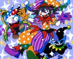 :d bangs black_hair blue_background bow commentary_request danganronpa_(series) danganronpa_v3:_killing_harmony fangs furukawa_(yomawari) gloves hands_up hat heart highres jester jester_cap looking_at_viewer mismatched_footwear multicolored multicolored_clothes multicolored_headwear multicolored_pants multicolored_shirt open_mouth orange_gloves ouma_kokichi pale_skin pants polka_dot polka_dot_headwear polka_dot_pants polka_dot_shirt puffy_short_sleeves puffy_sleeves purple_gloves purple_hair red_bow shirt short_sleeves smile sparkle striped striped_headwear striped_pants