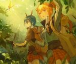 +_+ 2girls arknights arm_up backpack bag bagpipe_(arknights) belt black_capelet black_gloves blue_hair blurry blurry_background blurry_foreground brown_bag bug butterfly capelet ch'en_(arknights) checkered checkered_skirt dragon_horns foliage gloves green_jacket high_collar horns insect jacket leaf long_hair looking_at_animal miniskirt multiple_girls open_mouth orange_hair ponytail qinglai_haiji red_eyes red_skirt skirt sparkle utility_belt violet_eyes