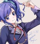 1girl aikatsu! aikatsu!_(series) arm_up blue_eyes blue_hair blue_jacket blue_scrunchie closed_mouth commentary_request dated grey_background gurifu hair_ornament hair_scrunchie highres jacket kiriya_aoi long_sleeves looking_at_viewer school_uniform scrunchie shirt side_ponytail signature simple_background smile solo twitter_username upper_body white_shirt