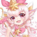 1girl alternate_color animal_ears fang headpiece holding holding_staff league_of_legends long_hair looking_at_viewer lulu_(league_of_legends) magical_girl natsuichi-sama open_mouth pink_eyes pink_hair pix skin_fang smile staff star_(symbol) star_guardian_(league_of_legends) star_guardian_lulu tiara upper_body yordle
