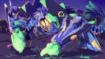 brachydios cracked_floor eva_01 fusion glowing glowing_eyes glowing_hands highres jinze_(imazawa) mecha monster_hunter monster_hunter:_world neon_genesis_evangelion no_humans one_knee open_mouth steam tail
