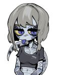 1girl :p black_shirt blue-tongued_skink blue-tongued_skink_(sparrowl) colored_sclera colored_tongue commentary cropped_shirt english_commentary grey_hair lizard_girl lizard_tail looi_lan looking_at_viewer medium_hair monster_girl original purple_tongue scales shirt short_sleeves simple_background slit_pupils solo sparrowl tail tongue tongue_out violet_eyes white_background yellow_sclera