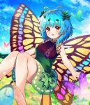 1girl absurdres antennae aqua_hair bangs barefoot blue_hair blue_sky bug butterfly butterfly_wings clouds dress eternity_larva field flower flower_field green_dress highres insect leaf leaf_on_head light_particles looking_at_viewer open_mouth outdoors short_hair sky sleeveless sleeveless_dress smile solo touhou wings yellow_eyes yellow_wings yuujin_(yuzinn333)