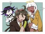 1girl 2boys ahoge bangs black_hair border brown_hair brown_jacket checkered checkered_neckwear checkered_scarf clenched_teeth closed_eyes crossed_arms danganronpa_(series) danganronpa_v3:_killing_harmony dark_skin dark_skinned_male detached_wings furukawa_(yomawari) glasses gokuhara_gonta green_background green_hair green_neckwear halo hands_clasped hands_together highres jacket long_hair long_sleeves low_twintails messy_hair multiple_boys necktie open_mouth ouma_kokichi own_hands_together petting purple_hair scarf shell shell_bikini shiny shiny_hair skirt smile squiggle teeth twintails white_border white_hair white_jacket white_skirt wings yellow_jacket yonaga_angie