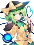 1girl bangs black_headwear bow closed_mouth eyebrows_visible_through_hair green_eyes green_hair green_skirt hat hat_bow heart heart_of_string highres komeiji_koishi long_sleeves medium_hair pointing pointing_at_self shirt simple_background skirt smile solo standing third_eye tongue tongue_out touhou v-shaped_eyebrows white_background wide_sleeves yellow_bow yellow_shirt yuujin_(yuzinn333)