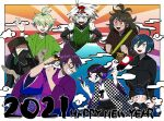 2021 6+boys :d ahoge alternate_costume amami_rantarou android antenna_hair bandaged_hands bandages bangs black_hair black_headwear brown_eyes brown_hair brown_kimono calligraphy_brush checkered checkered_kimono closed_eyes danganronpa_(series) danganronpa_v3:_killing_harmony english_commentary furukawa_(yomawari) gokuhara_gonta green_eyes green_hair green_headwear grey_hair hands_in_opposite_sleeves hands_up happy_new_year highres holding hoshi_ryouma japanese_clothes jewelry keebo kimono long_hair looking_at_another male_focus mask momota_kaito mouth_mask multiple_boys new_year open_mouth ouma_kokichi paintbrush pipe ponytail purple_hair purple_kimono red_eyes ring saihara_shuuichi shinguuji_korekiyo shiny shiny_hair short_hair smile space_print starry_sky_print tagme thumb_ring upper_teeth wide_sleeves