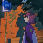 1girl album_cover bench black_eyes bob_cut bus_stop closed_mouth cover dated fanny_pack highres ivy jacket original outdoors profile purple_hair purple_jacket shadow signature solo sparrowl standing tree_branch wall