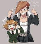 2boys :d bangs belt black_coat black_pants black_ribbon blush brown_hair character_name clenched_hands coat collarbone commentary danganronpa:_trigger_happy_havoc danganronpa_(series) flexing flipped_hair fujisaki_chihiro furukawa_(yomawari) green_shirt grey_background grin hand_on_own_arm hands_up highres long_sleeves looking_at_another looking_at_viewer male_focus multiple_boys neck_ribbon one_eye_closed oowada_mondo open_mouth pants pectorals pose ribbon shiny shiny_hair shirt simple_background smile upper_body upper_teeth