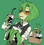 1girl basket black_eyes black_vest blush colored_sclera cup disposable_cup drinking_straw extra_arms green_hair green_theme holding holding_basket holding_cup lanyard long_sleeves looking_at_viewer mantis-chan_(sparrowl) mantis_girl medium_hair monster_girl mouth_hold original sharp_teeth shirt short_sleeves smile solo sparrowl teeth vest white_shirt yellow_sclera
